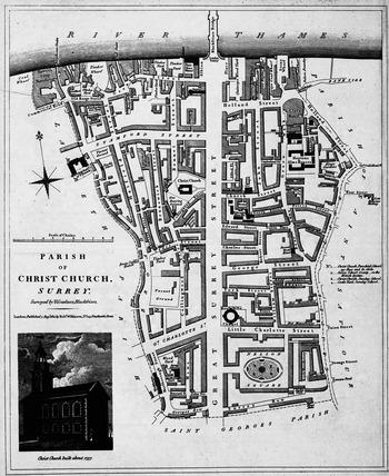 Parish of Christchurch, Surrey. Surveyed by H. Gardner, Blackfriars: 1821