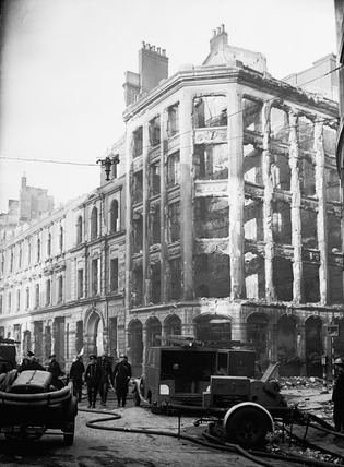 Bomb damage at Gresham Street: 1940