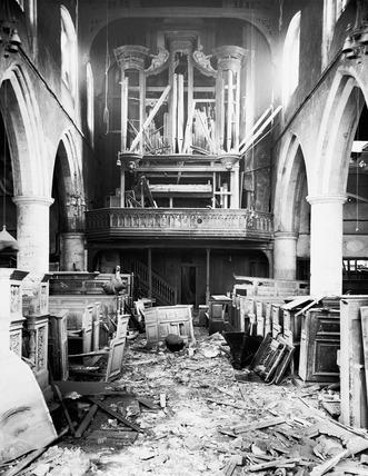 City bomb damage at All Hallows Church: 1940