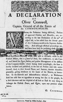 A declaration of Oliver Cromwell, Captain General of all the forces of this Commonwealth: 1653