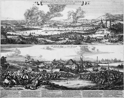 Afbeeldingh van de Stadt en Revier van Rochester, Chetham: 1667
