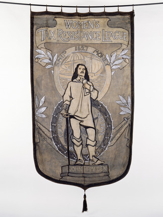 Suffrage banner 'John Hampden': 1910