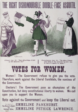 The right dishonourable double - face asquith. Votes for women: 1909