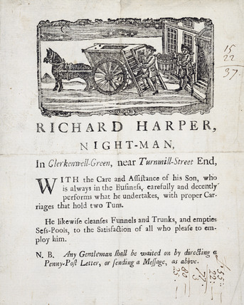 Trade card of a road sweeper: 18th century