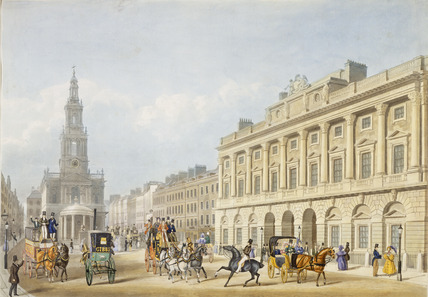 Exterior view of Somerset House and Church of St Mary le Strand: 1818