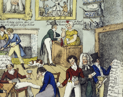 Detail of Inside view of a whistling shop in Abbots Park, St. George's Fields or hoy for a Westminster white-wash after a three months probation. 19th century