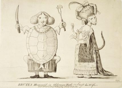 Brutes Humaniz'd in Alderman Turtle and Singe his wife: 1775