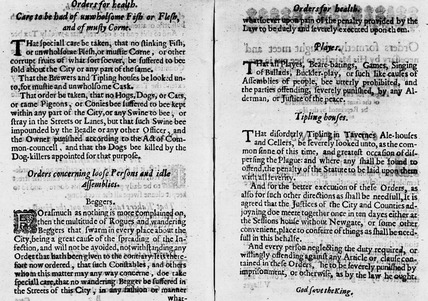 Orders concerning the Plague: 1646