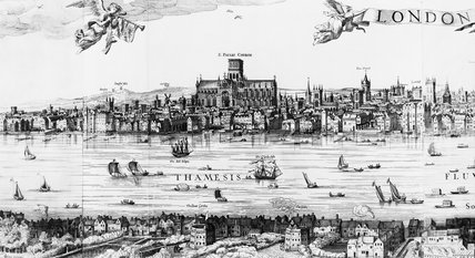 Visscher view of London detail of the Centre Left, c. 1616: 1846