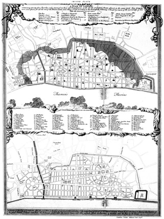 Designs for rebuilding London after the Fire of London: 1748