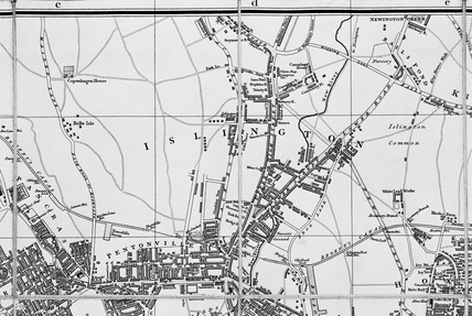 Islington from Cary's new plan of London and its vicinity: 1824