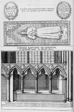 Eiusden monumenti facies plana integram ipsius cum Epitaphio representans figuram - Tvmvlvs Radvlphi de Hengham in aquilonali muro, ex adverso Chori.