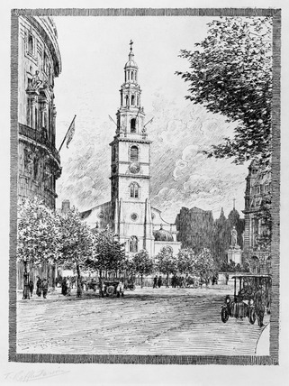View of St Clement Danes, Strand: 1919