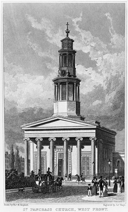 St. Pancras Church, west front: 1827