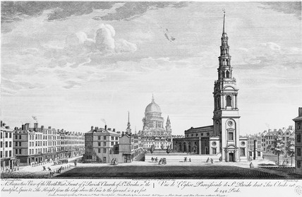 Exterior of St Bride's Church: 1753
