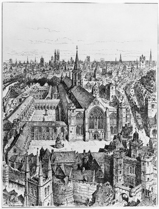 View of Newgate in Tudor times: 1894