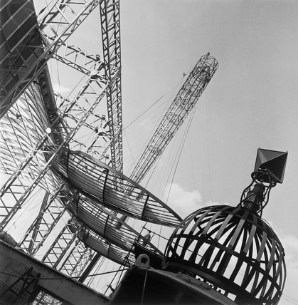 Partial view of the construction site for the Festival of Britain Exhibition, 1951
