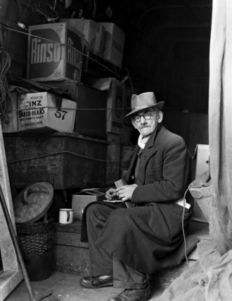 Old man in Market, Camden Town: 1956