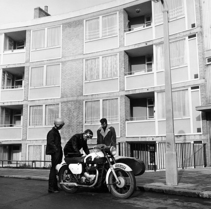 Bikers outside a London housing estate: 1965