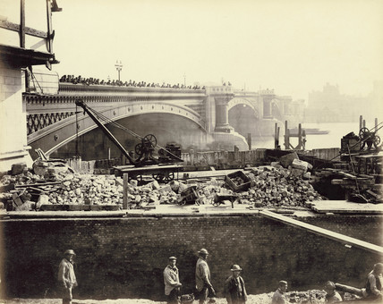 Construction on the western side of Blackfriars Bridge: 1866-1870
