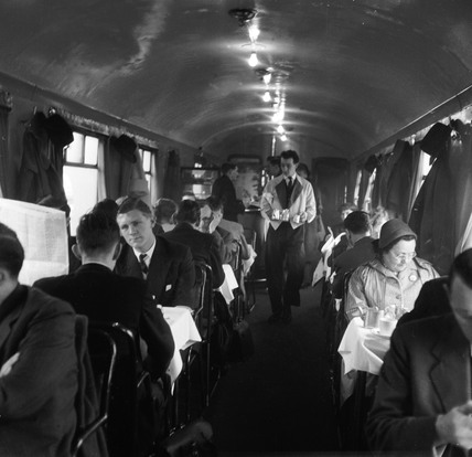 Buffet car on the Kings Cross to Cambridge train: 1957