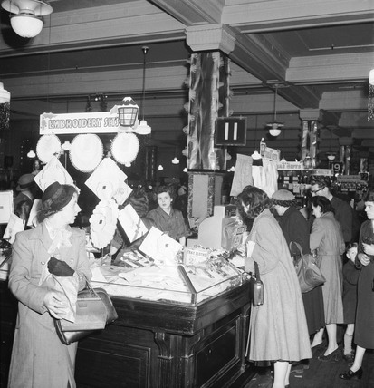 Interior of Selfridges at Christmas: 1953