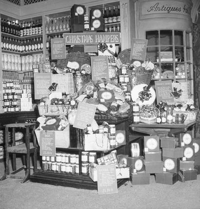 Christmas food hampers in Selfridges: 1953