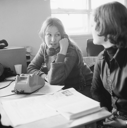 Student on the telephone at sit-in: 1975