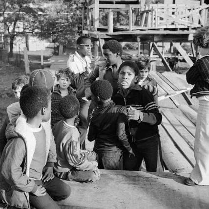 Children at the Hackney Marshes adventure playground: 1978