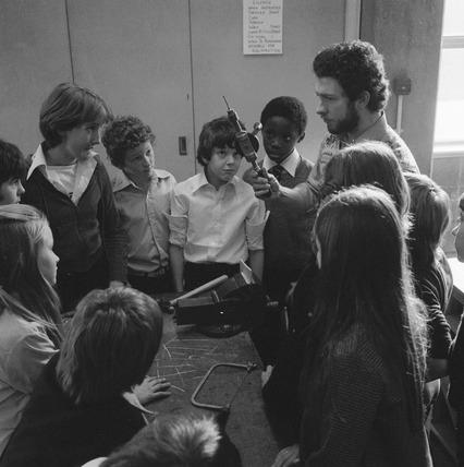 School metalwork class. 1970-1980