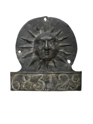Lead fire mark, Sun insurance company: 1798