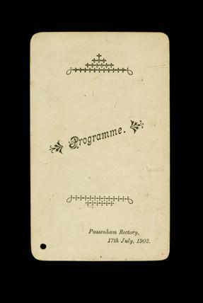 Passenham Rectory dance programme: 1902