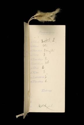 Dance Programme: 1912