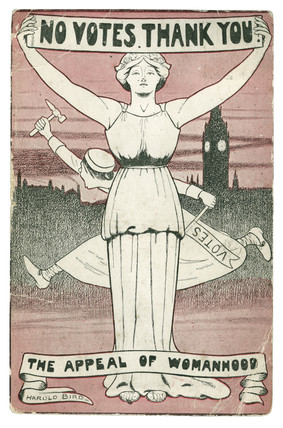 'No Votes Thank You, The Appeal of Womanhood' postcard: 1912