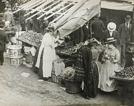 Women running their market stalls: c.1900