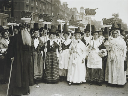 Welsh Suffragettes in traditional costume on the Women's Coronation Procession, 17 June 1911
