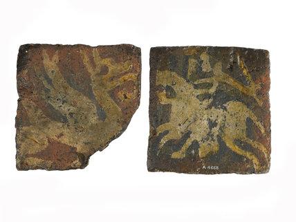 Medieval encaustic Westminster type floor tiles: 14th Century