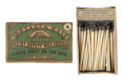 Bryant and May matchbox: 1862-1870