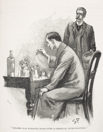 Holmes was working hard over a chemical investigation: c.1895