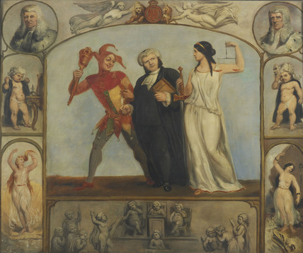 Portrait of Renton Nicholson with Allegorical Scenes and Figures: 1841-1861
