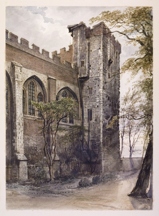View of the water tower and chapel of Lambeth palace