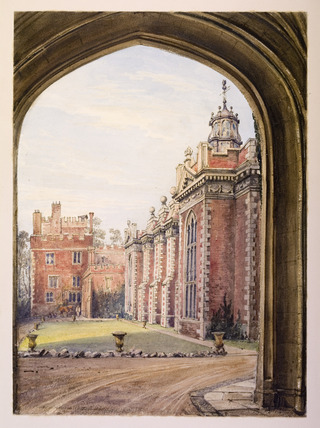 View of the Library of Juxon's hall and of the outer court yard at Lambeth Palace
