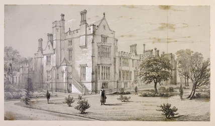 View of the Archbishops private library and sitting room from the garden of Lambeth Palace