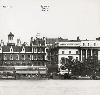 Thames Riverscape showing Billingsgate Market and  the Custom House Stairs: 1937
