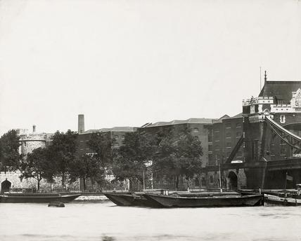 Thames Riverscape showing Tower Bridge: 1937