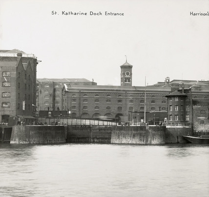 Thames Riverscape showing the St Katharine Dock Entrance: 1937