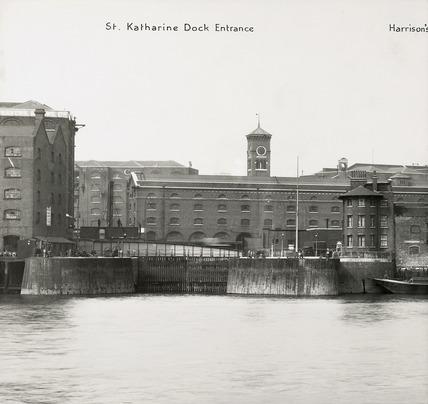 Thames Riverscape showing the St Katharine Dock Entrance: 1937