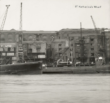 Thames Riverscape showing St. Katharine's Wharf : 1937