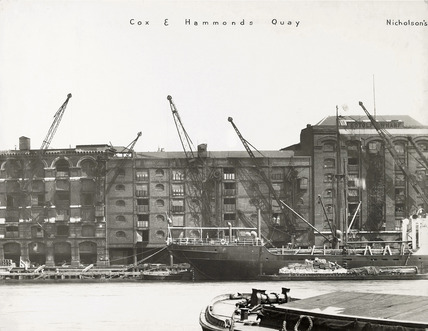 Thames Riverscape showing Cox and Hammonds Quay: 1937