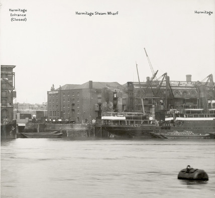 Thames Riverscape showing the Hermitage Entrance and the Hermitage Stream Wharf : 1937